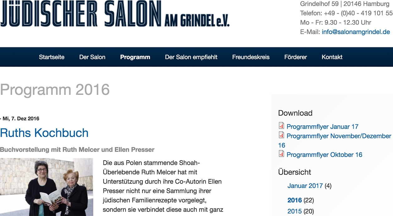 Salon-Website, Ausschnitt