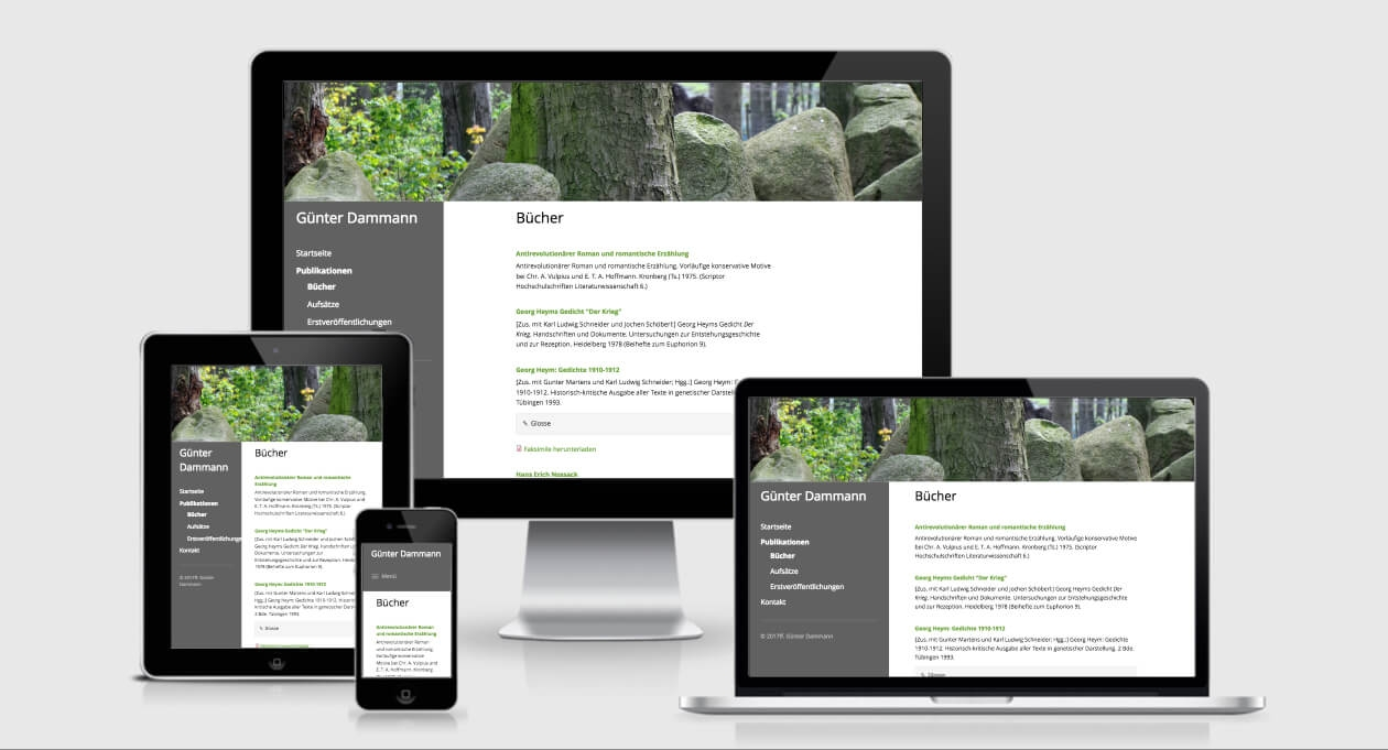 Website von Günter Dammann, Screenshot: ami.responsivedesign.is