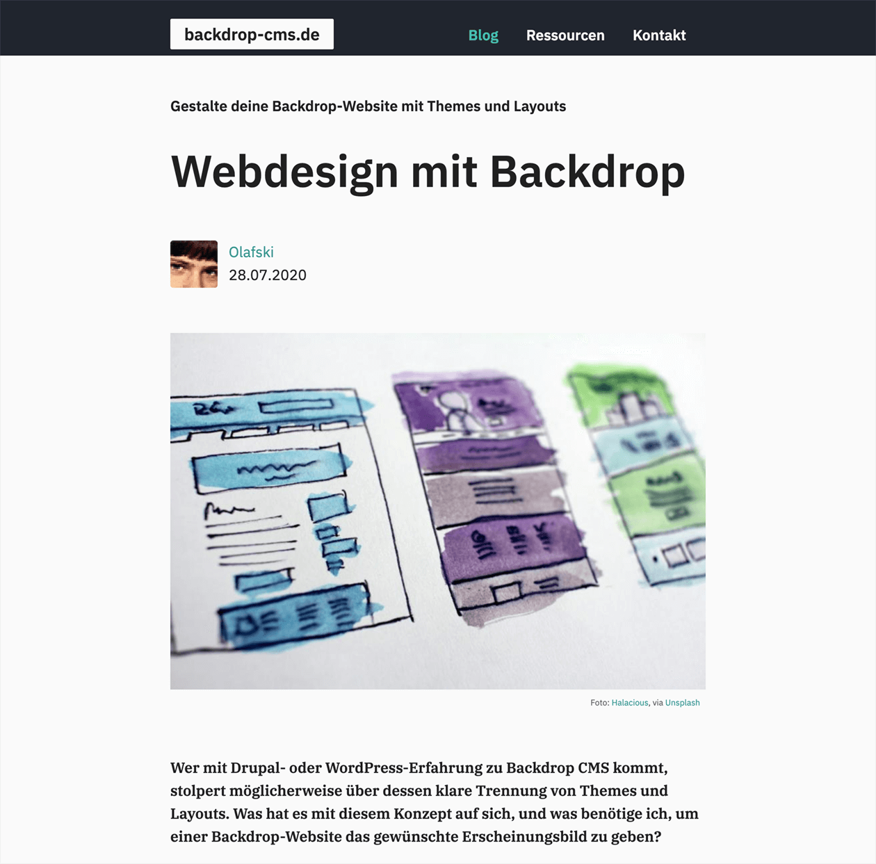 Backdrop-CMS-Infowebsite, Blogbeitrag